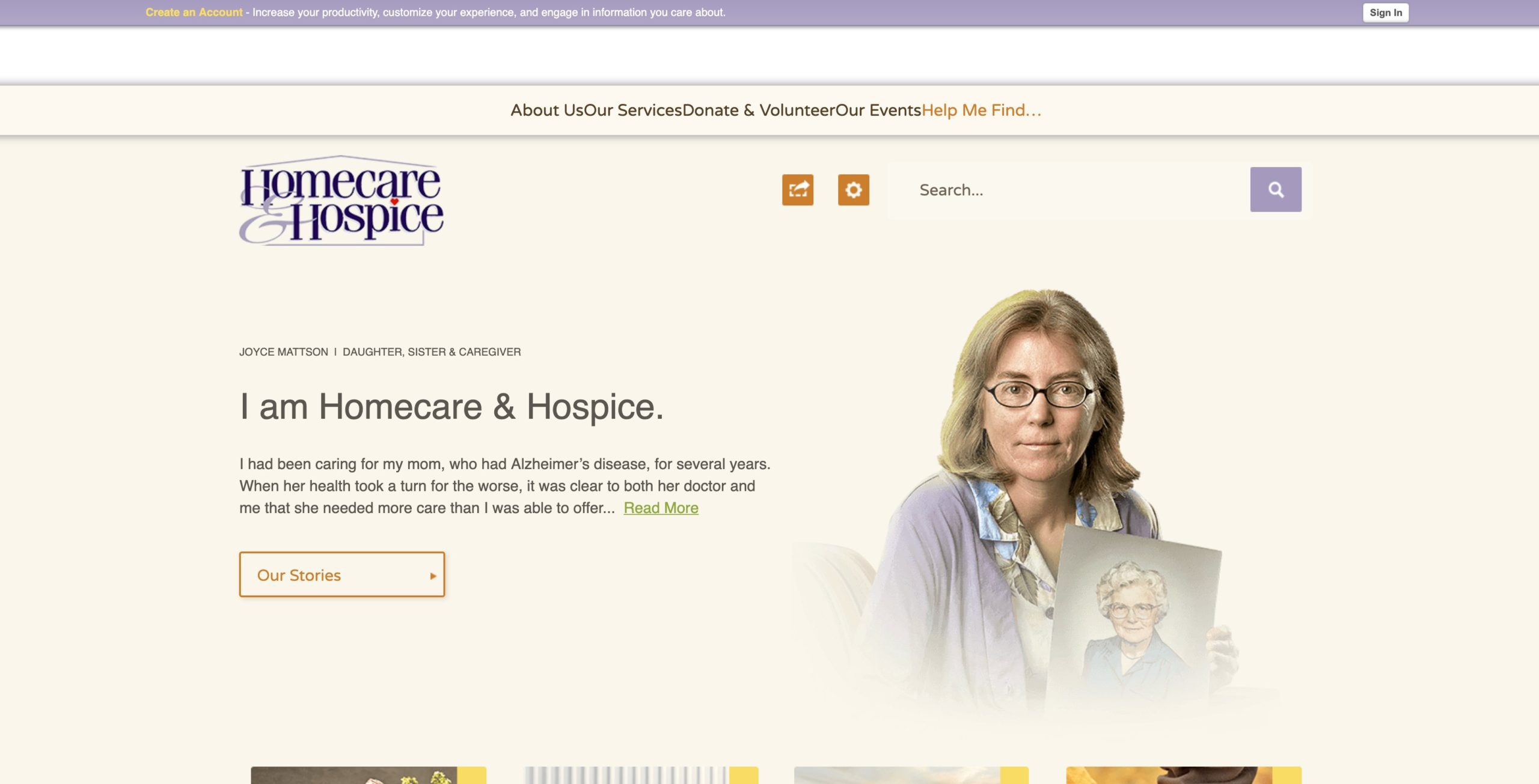 Homecare And Hospice Website Before Conceptualized Design
